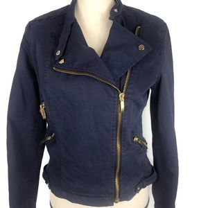 Zara Royal Blue Moto Softshell Side Zip Jacket